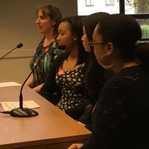 From left: Sandra Schafer, teacher in Highline School District, with Aki Kurose middle school students Elena Uncango and Ashley Clark and Aki Kurose staff member Rayonna Tobin. They traveled from Seattle to Olympia Wednesday to voice their support for House Bill 1295 / Senate Bill 5437.