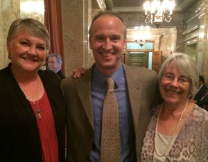 Children's Alliance deputy director Jon Gould with early learning leaders Rep. Maureen Walsh (R-Walla Walla, left) and Rep. Ruth Kagi (D-Seattle, right) after the passage of the Early Start Act in the House of Representatives on Sunday, June 28.