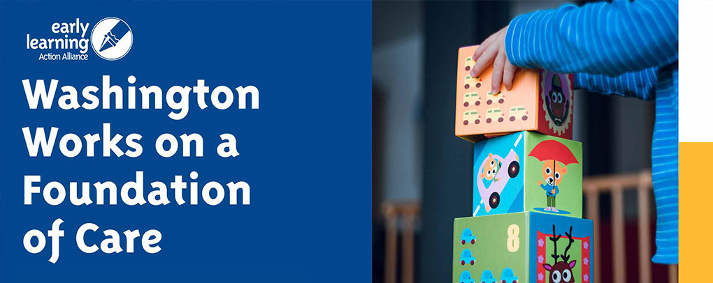Foundation of Care banner with child stacking blocks